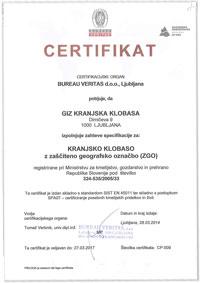 Certifikat KRANJSKA KLOBASA 2014