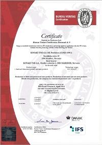 Certifikat IFS Predelava do 03.06.2018