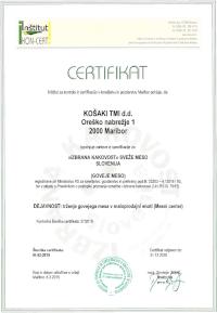 Certifikat »IZBRANA KAKOVOST« sveže meso Slovenija