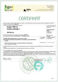 Certifikat EKO CERTIFIKAT