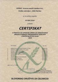 Certificate gluten free