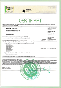 Certifikat EKO-veljaven do 31.12.2018