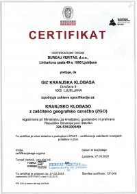 Certifikat KRANJSKA KLOBASA 2020